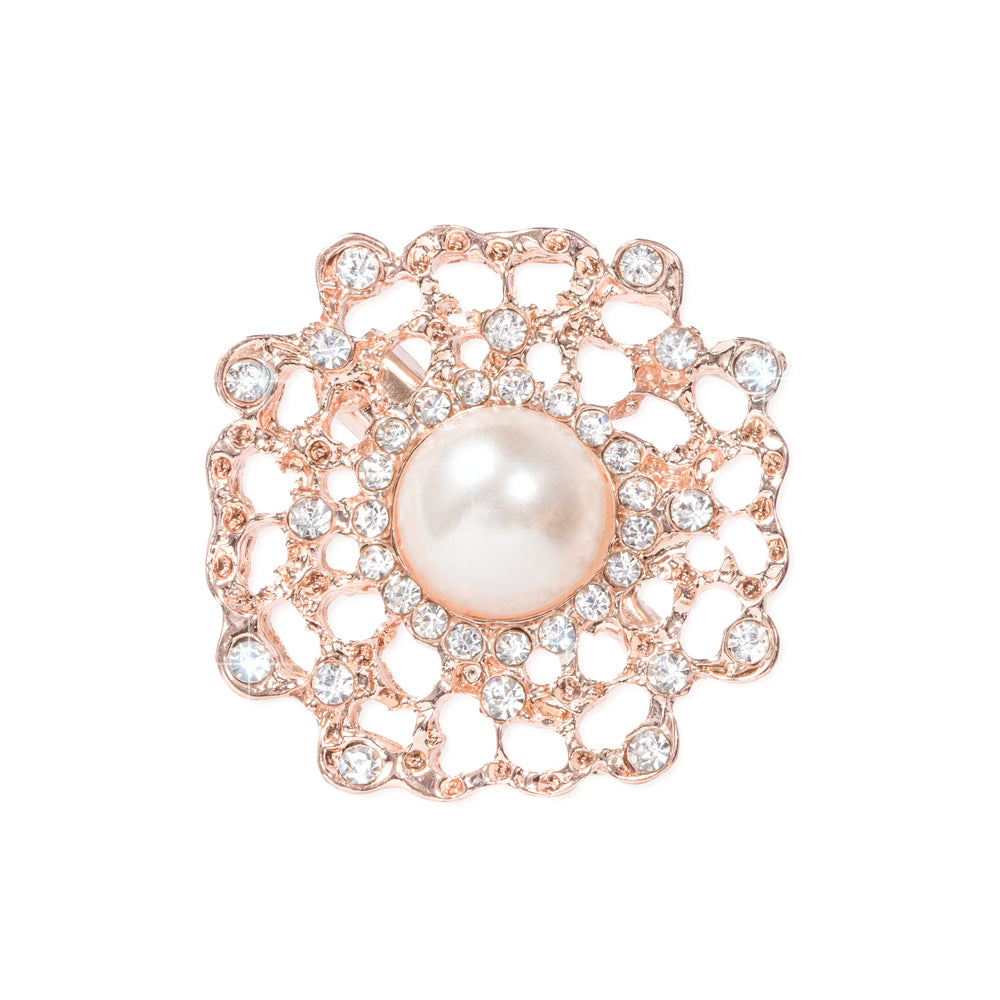 ROSE GOLD FLOWER RHINESTONE PEARL BROOCH 404-R
