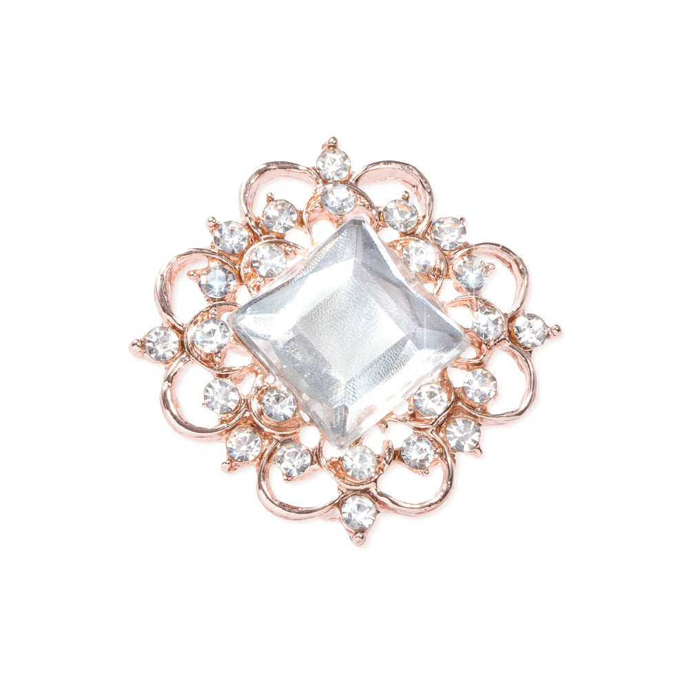ROSE GOLD SQUARE CRYSTAL BUCKLE SLIDE