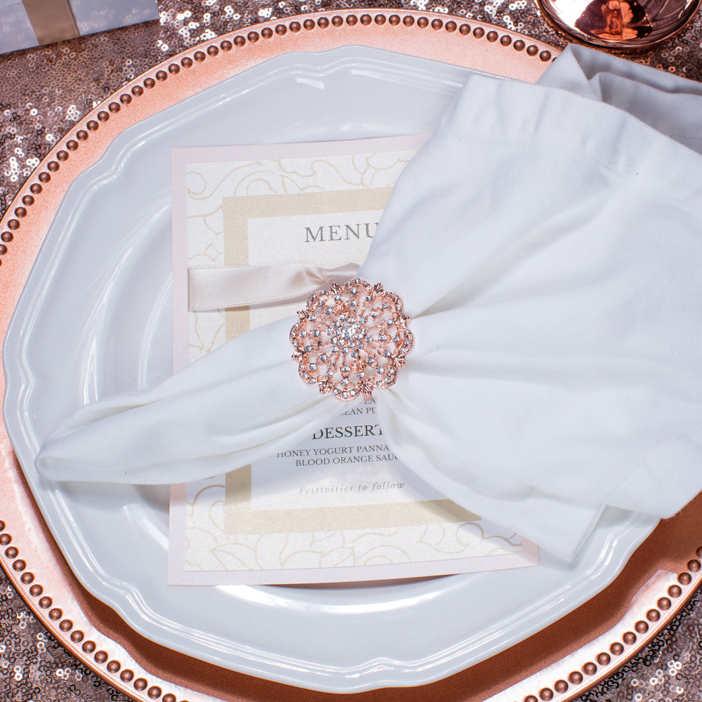 Wholesale Rose Gold Diamante Napkin Rings
