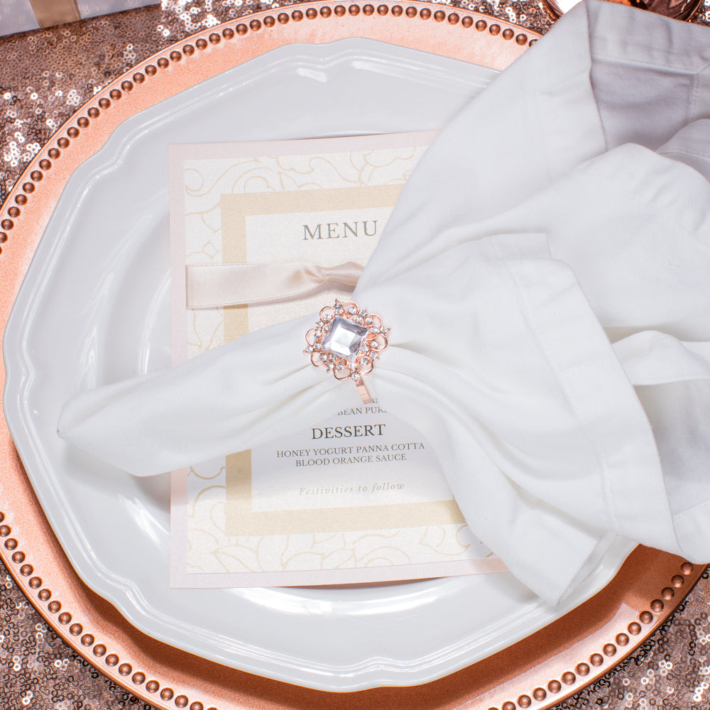 Rose Gold Crystal Wedding Napkin Rings