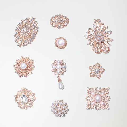 Mixed Pack Rose Gold with Pearl and Clear Rhinestone (10pcs/pkg) 711-RGP