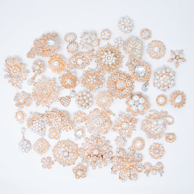 bulk rose gold and pearl rhinestones embellishments (50pc)