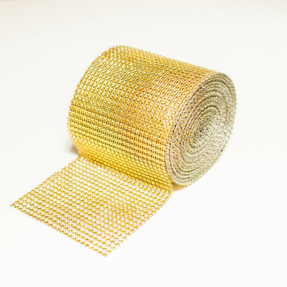 Gold Bling Wrap, Rhinestone Mesh Ribbon, Trim 901-G