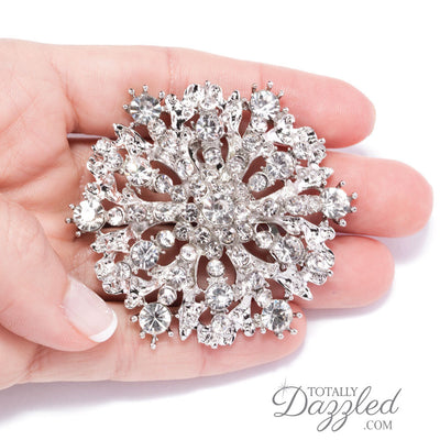 Rhinestone Wedding Brooch in Hand
