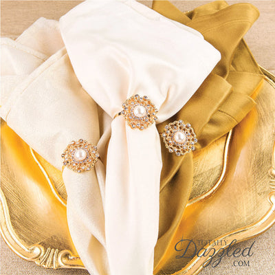 Flower Napkin Ring Gold and Pearl