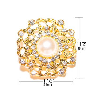gold pearl flower brooch