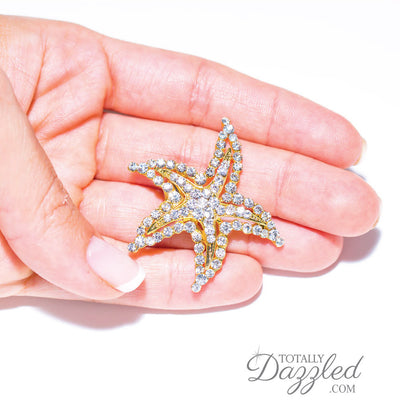 Wholesale Rhinestone Starfish Brooch in Hand