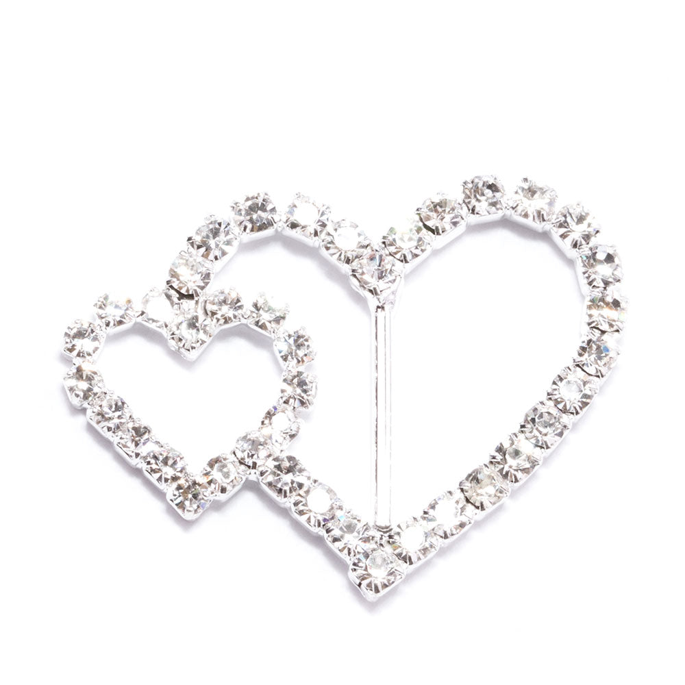 Diamante Double Heart Buckle Slider