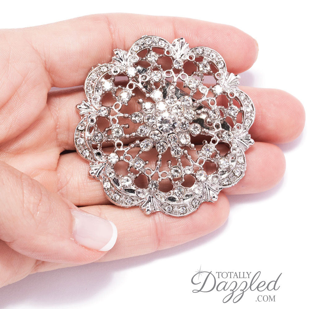 A 12 PACK OF COLOURS DIAMANTE FLOWER PIN BROOCH WEDDING BOUQUET BROOCH