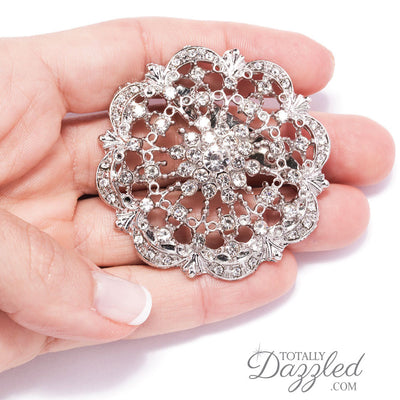 Wholesale Diamante Wedding Brooches in Hand