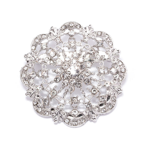DIAMANTE FLOWER BROOCHES 412-S