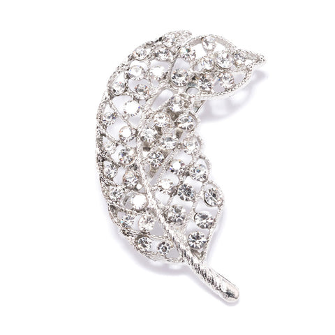 DIAMANTE LEAF FEATHER BROOCH 413-S