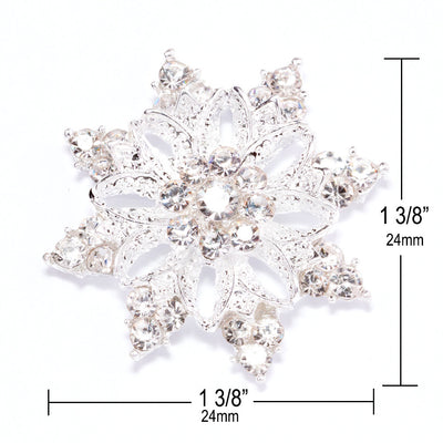 Diamante Snowflake Wedding Embellishments Measurements