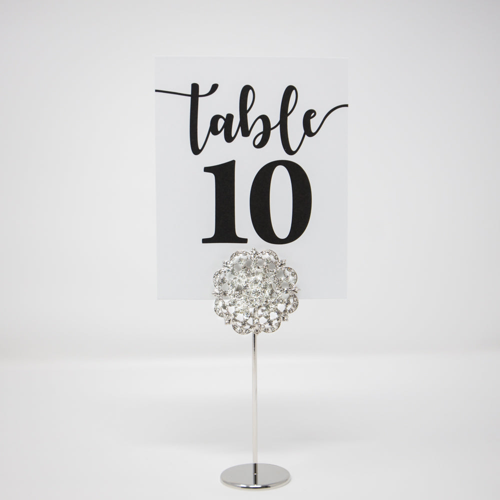 Diamante Flower Wedding Table Number Holders 412-S-S