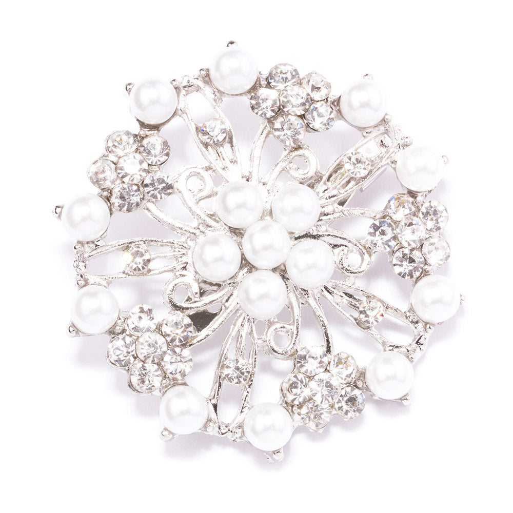 Pearl and Rhinestone Wedding Brooches Wholesale