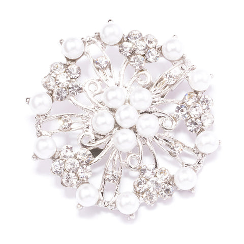 FLOWER RHINESTONE AND PEARL BROOCH 411-S