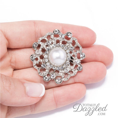 pearl wedding brooches in Hand
