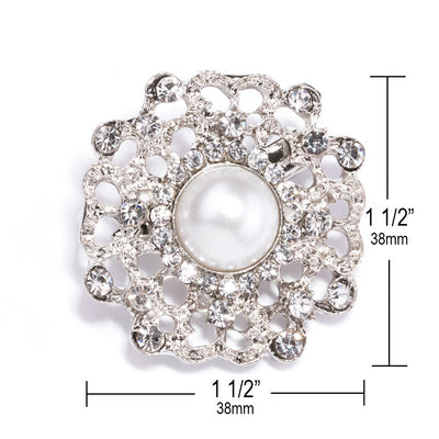 crystal and pearl wedding brooches Measurements