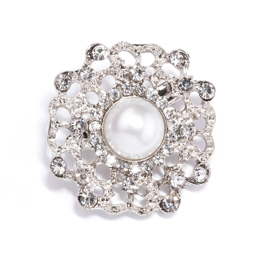 Crystal and Pearl Wedding Brooches