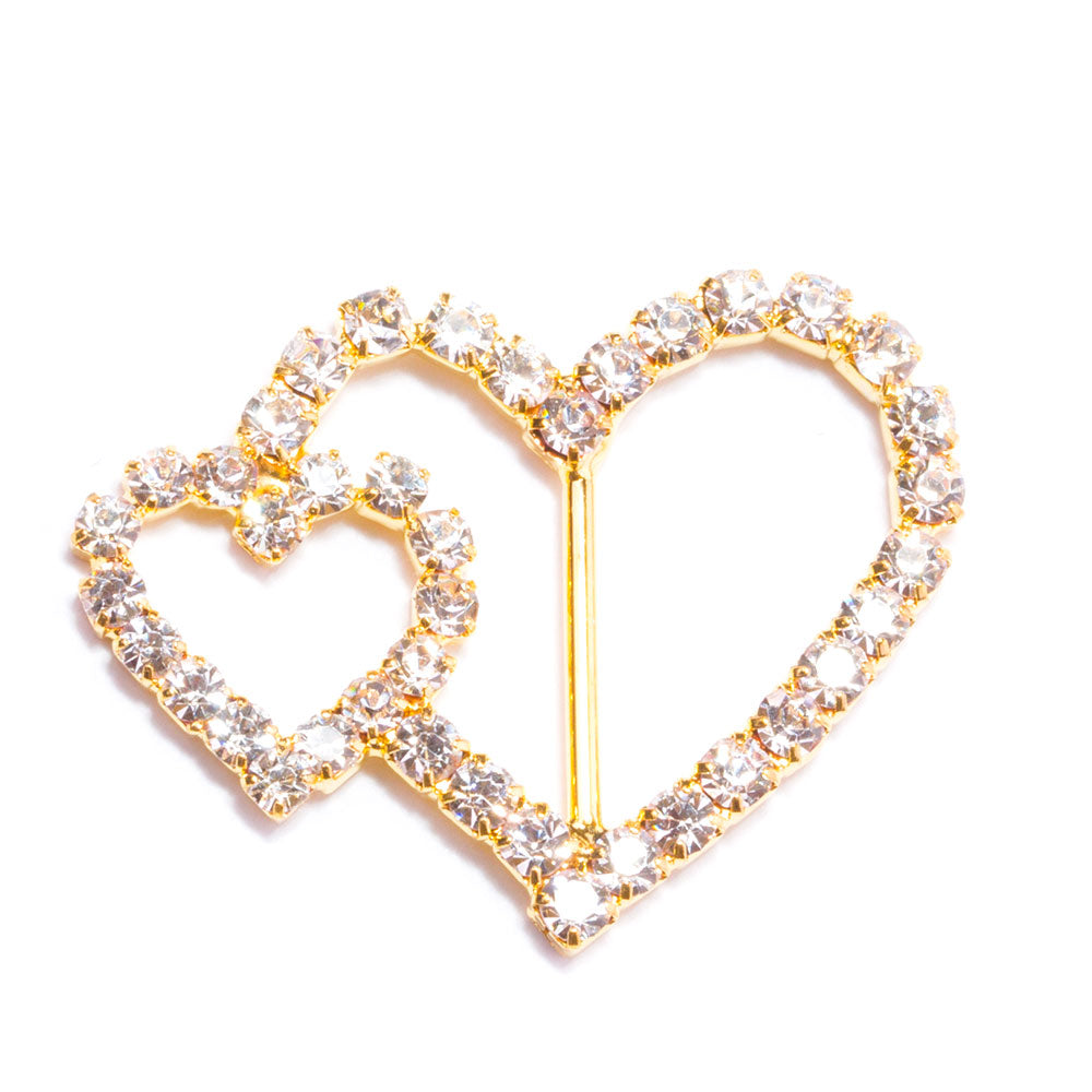 Pure Gold Heart Rings With Silver Crystals