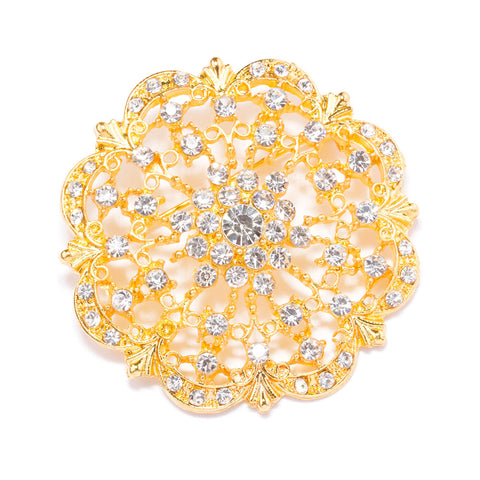 GOLD DIAMANTE FLOWER BROOCHES 412 G