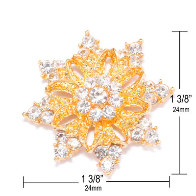 Gold Rhinestone Snowflake Measurements