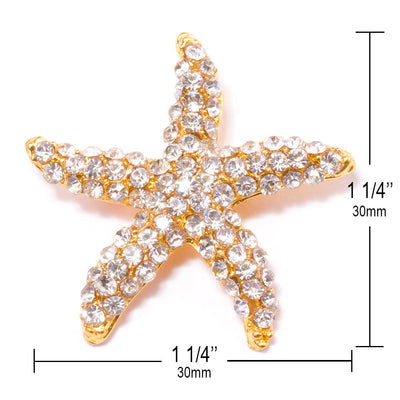 Gold Starfish Ribbon Buckle Measurements