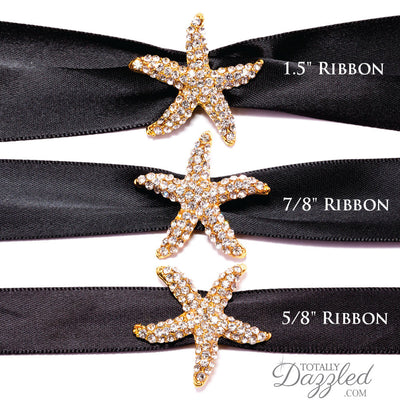 Gold Starfish Ribbon Buckle with Ribbon