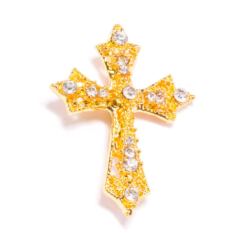 GOLDEN CROSS RHINESTONE SLIDE BUCKLE 327 G