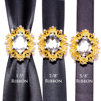 Gold Invitation Buckles Wholesale With Ribbon