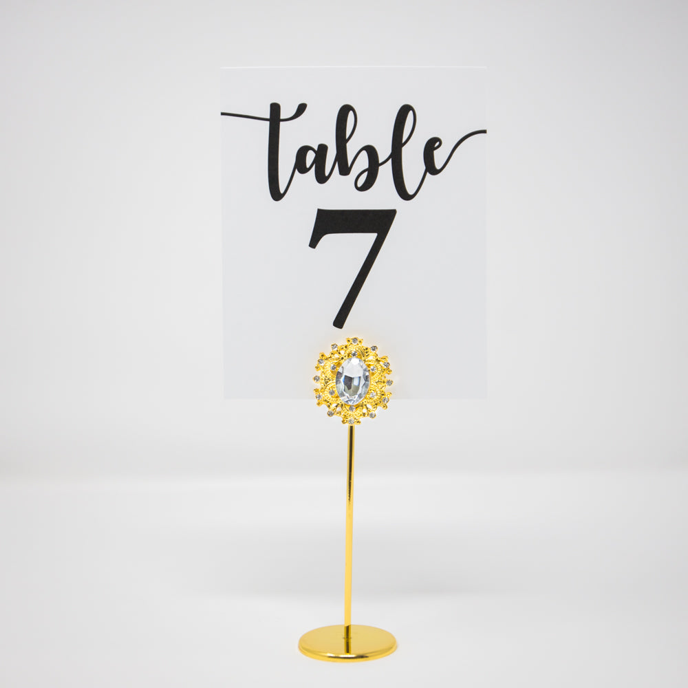 Gold Crystal Table Number Stand