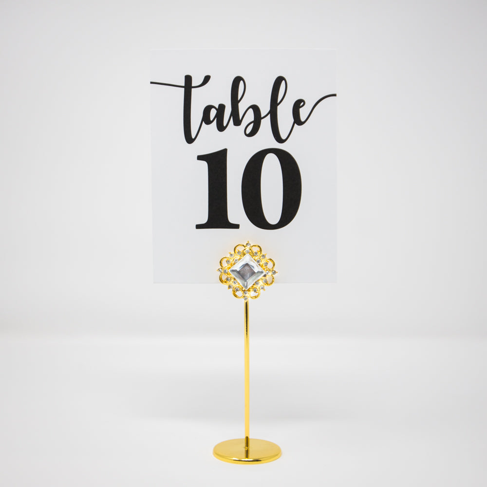 Gold Diamond Crystal Table Number Holder