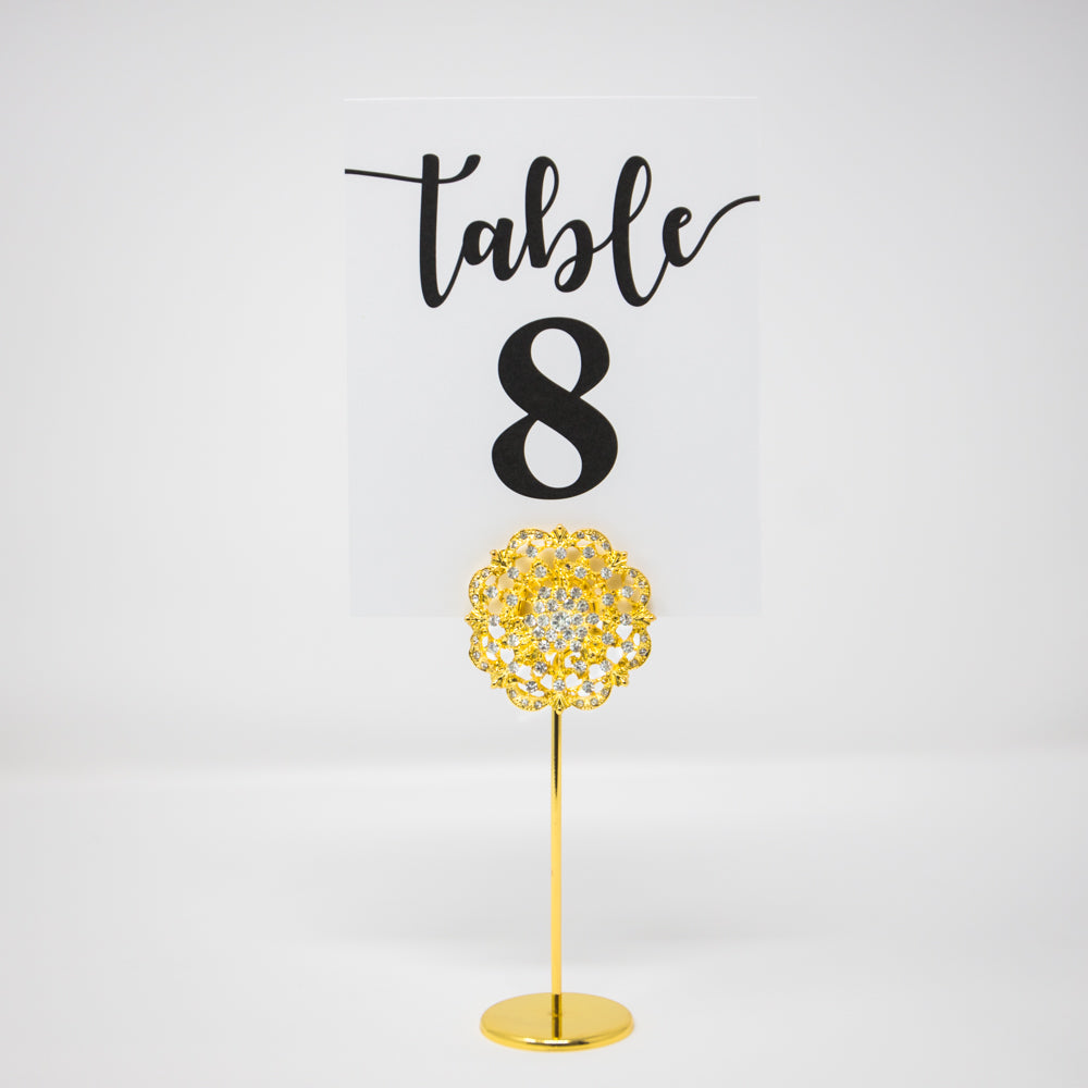 Gold Diamante Table Number Stand
