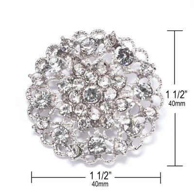 silver rhinestone flower brooch wholesale Measurements