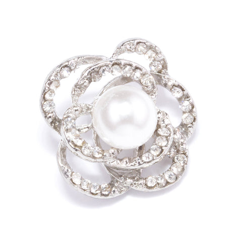 PEARL AND RHINESTONE FLOWER BUTTONS 706-S