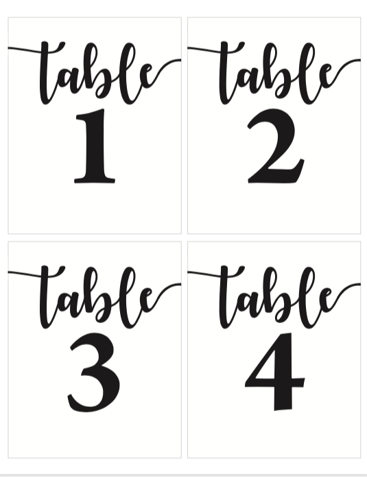 photo relating to Free Printable Table Numbers known as Cost-free Printable Desk Figures