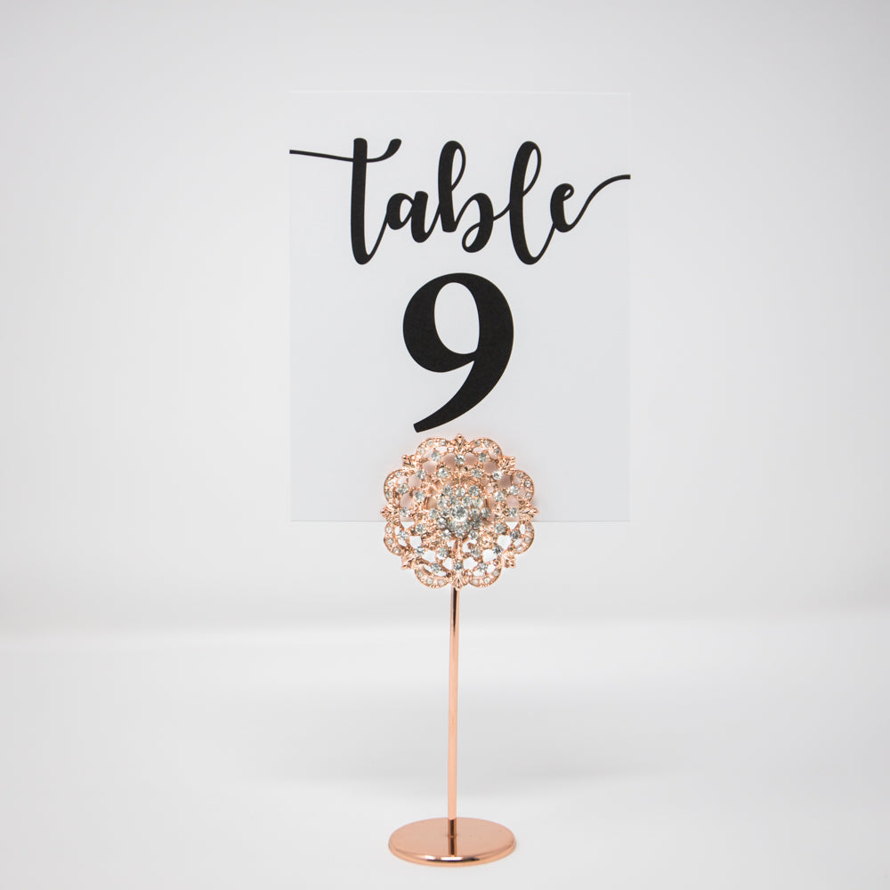 Rose Gold Diamante Table Number Holders 412-R-S