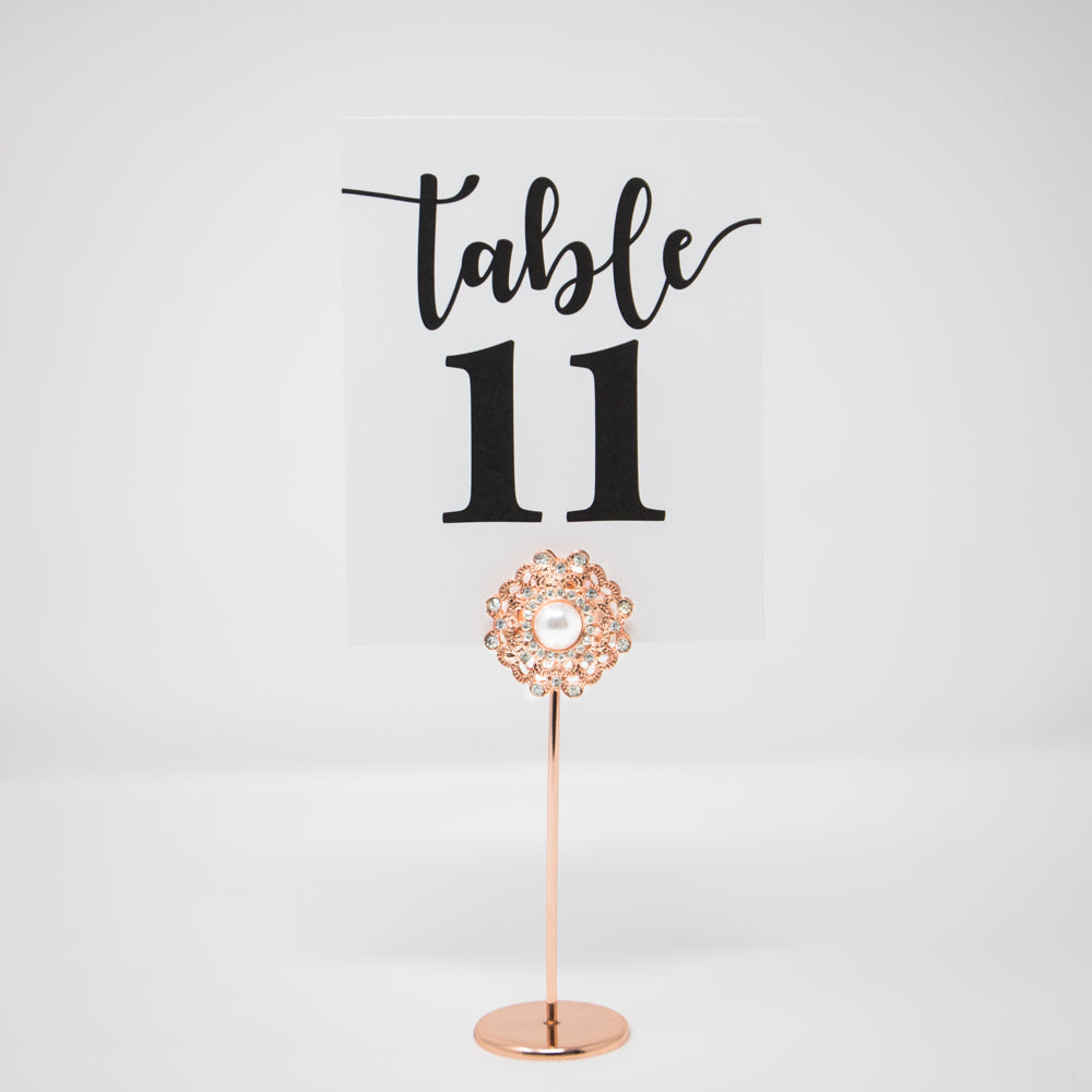 Rose Gold & Pearl Table Number Holders