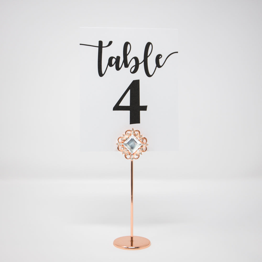 Rose Gold Wedding Table Number Holder