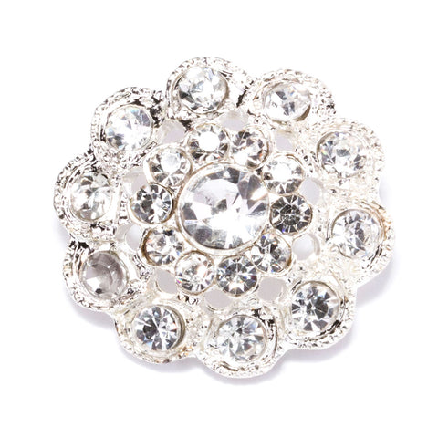 SILVER FLOWER WEDDING BUTTONS 702-S