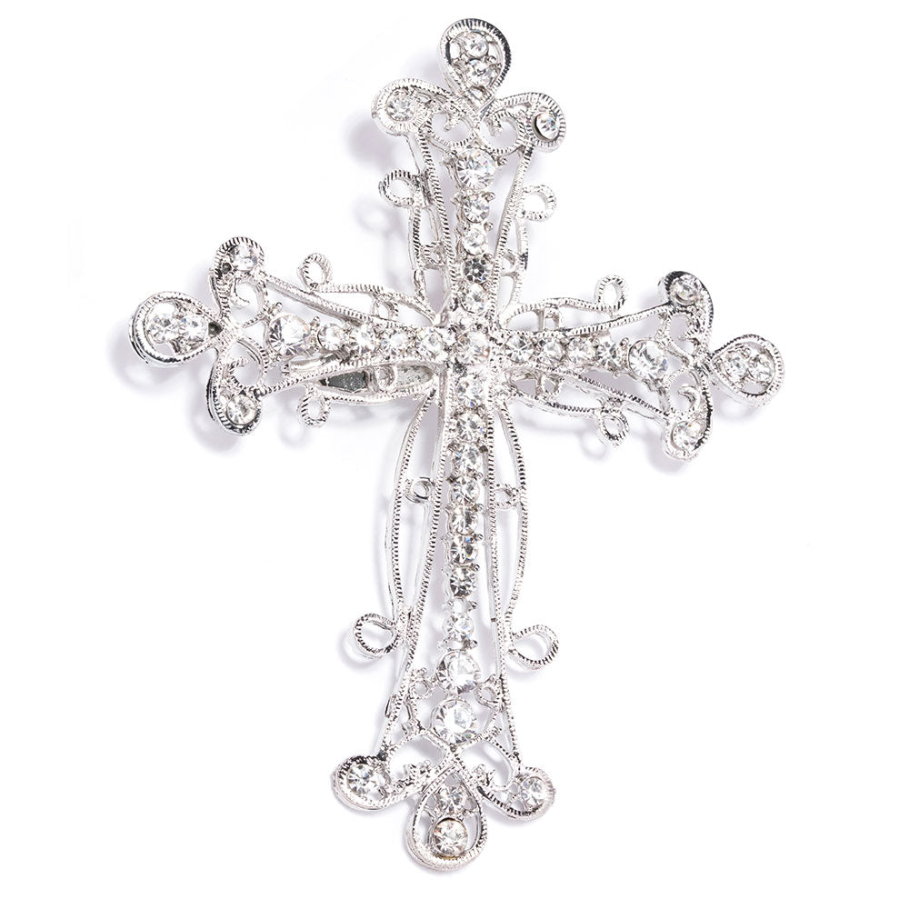 Rhinestone Silver Cross Brooch Wholesale