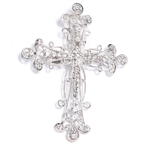 SILVER RHINESTONE CROSS BROOCH 414-S