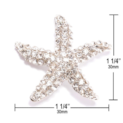 Rhinestone Starfish Buckle Measurements