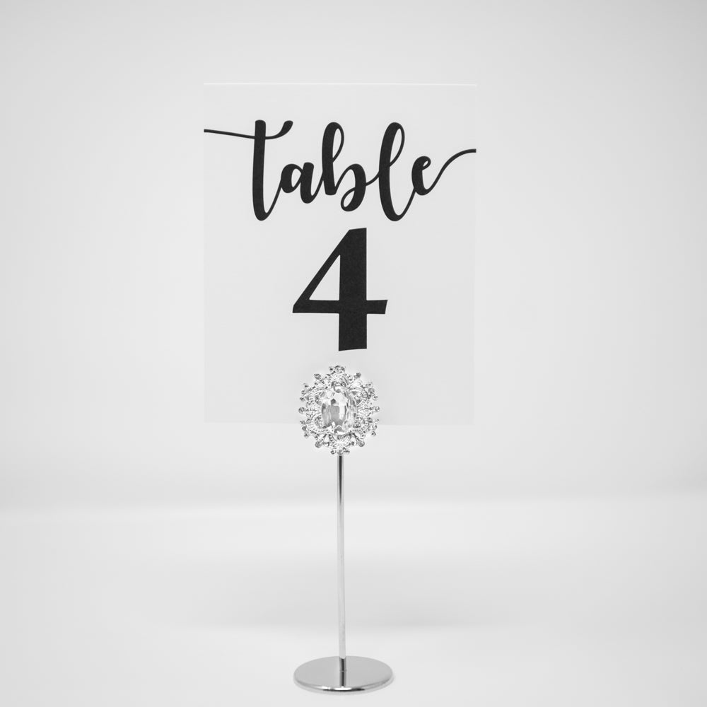 Silver Crystal Table Number Holder 322-S-S