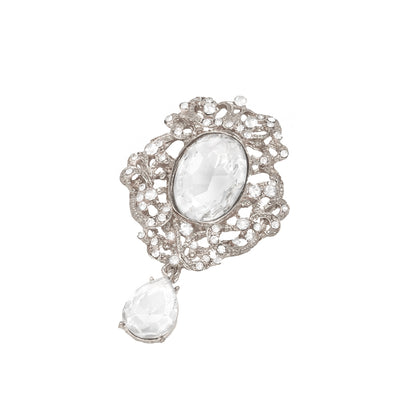 Silver Rhinestone Dangle Brooch, Totally Dazzled 416-S