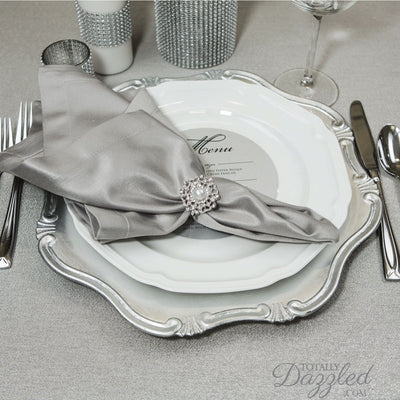 Silver Pearl Rhinestone Napkin Ring Wedding