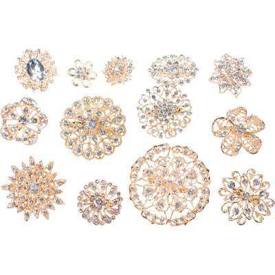 10 Piece Mixed Pack Gold and Clear Rhinestones (10pcs/pkg)