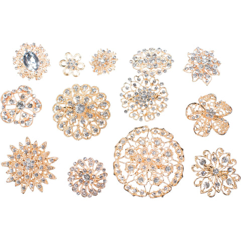 Mixed Pack Gold and Clear Rhinestones (10pcs/pkg) 711-G