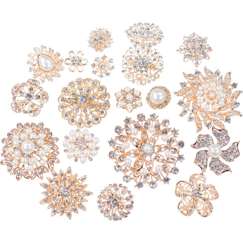 Mixed Pack Gold with Pearl and Clear Rhinestone (10pcs/pkg)
