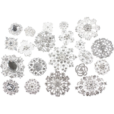 10 Piece Mixed Pack Silver and Clear Rhinestones (10pcs/pkg)